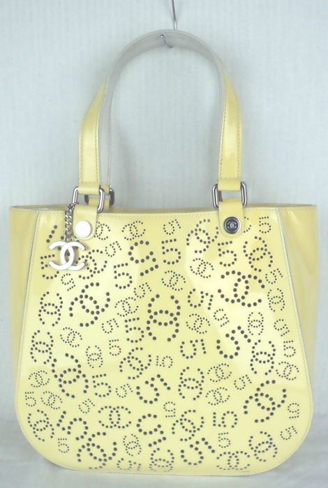 Chanel - Yellow Patent Leather Perforated CC   No. 5 Hand Shoulder ... e7be962914