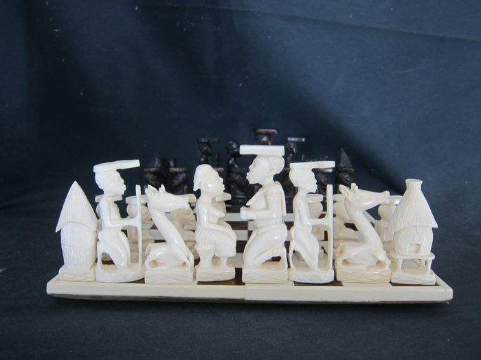 Complete Ivory Chess Set on Ivory Board-Colonial Mission Goods - KUBA area - D.R. Congo