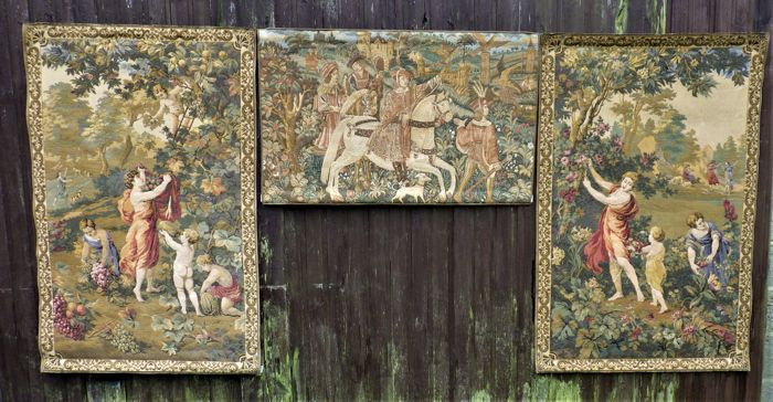 A triptych of machine woven wall tapestries