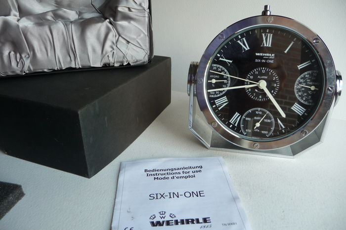 Wehrle - six in one - luxurious table clock - hours - sec - alarm - barometer - thermo - hygro, circa 2000