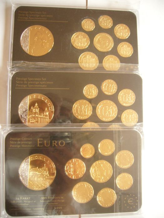 Europa - Prestige Probe sets 2012 - Precious Metals - Luxembourg, Monaco, Portugal - 3 Cases