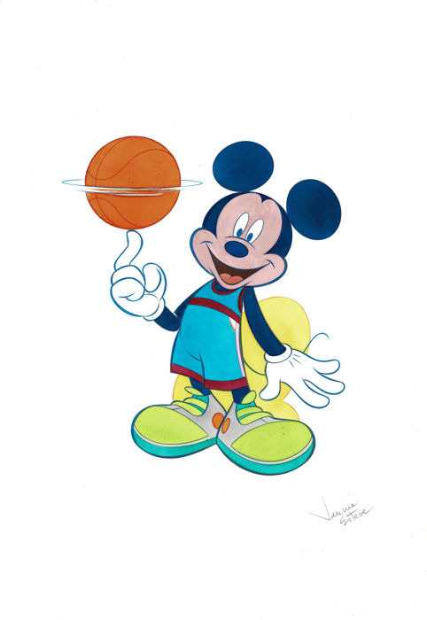 Mickey Mouse Basket Ball Player - Original Watercolor - Jaume Esteve - 50x35 cm - First Edition