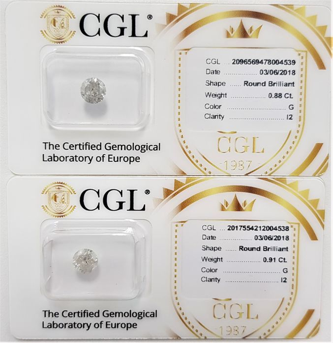 1.79 tcw - Pair of Natural White Diamonds - G Color - I2 - NO RESERVE!