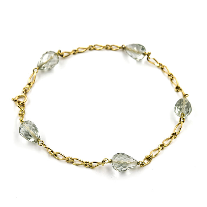 18 kt yellow gold - Bracelet - Blue topaz - Bracelet length 18.5 cm