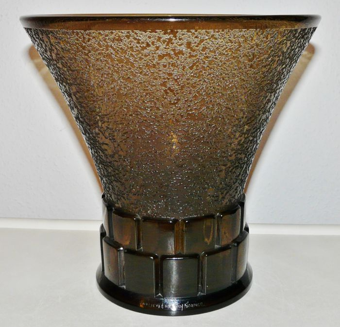 Daum - Art Deco Smoky Glass Vase