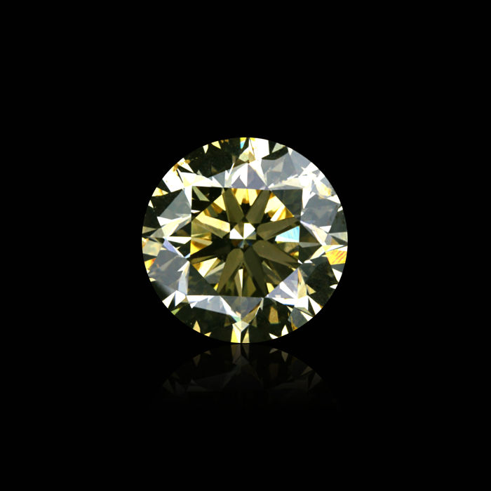 "1.54 Ct. Natural Fancy Greenish yellow Color Round Brilliant Diamond. VG/EX/EX ""De Beers Certified"" H&A"