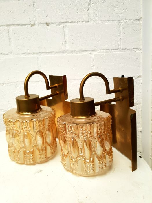 TR&CO - Brass wall light (2x)