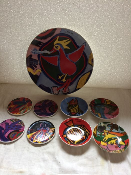 Corneille (1922–2010) - plate The Fire Bird, 4 different bowls and 4 coasters