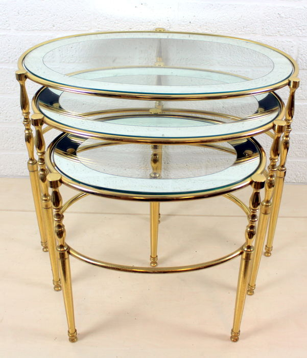 Designer three-piece set of oval copper side tables with cut glass plate, 20th century, Italy
