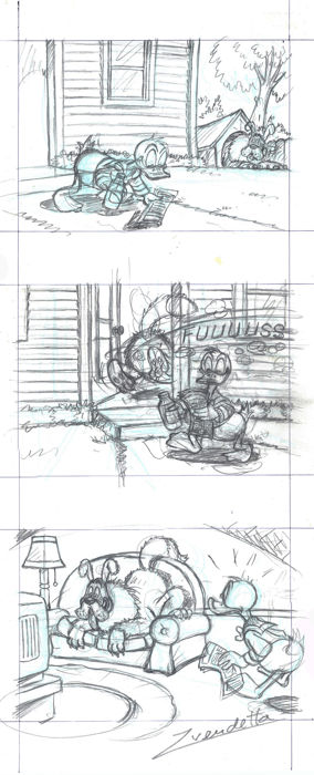 Donald Duck - Original Pencil Triptych - Z. Vendetta - First Edition