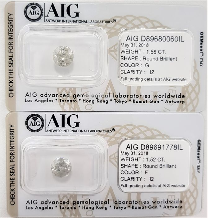 3.08 tcw - Pair of Natural White Diamonds - F/G Color - I2 - NO RESERVE!