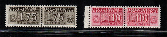 Italy Repubblica 1955 - Parcels in concession - Stars - Sassone NN. PC9 - 12