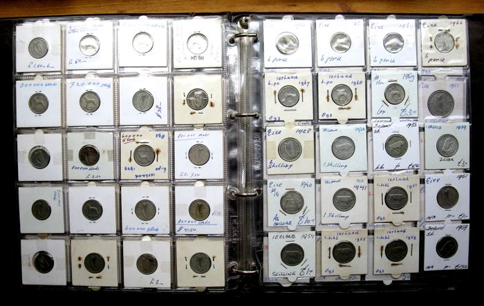 Ireland - 1/2 Penny to 1/2 Crown 1928/1969 - a.o. 11x silver in album