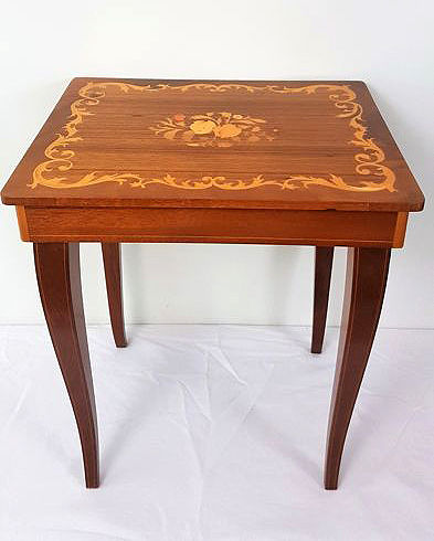Vintage Florentia inlaid wooden music table jewellery box, 1960s, Italy