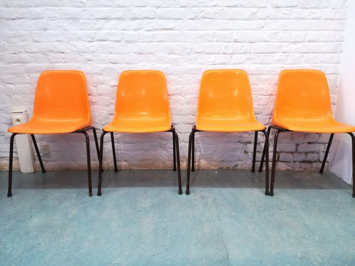 Tubax - set of 4 orange chairs