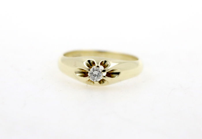 14 kt yellow gold solitaire women's ring with 0.10 ct diamonds - ring size 55 EU - free resizing