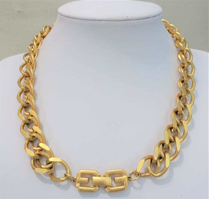 Givenchy - Heavy Gold double link Necklace - 1980s - Vintage