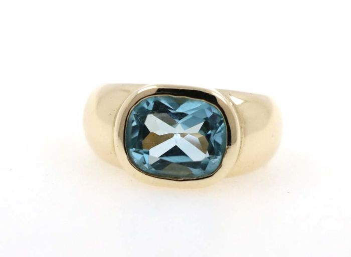8 kt yellow gold women's ring with a 7.00 ct aquamarine - ring size 60 EU - free resizing