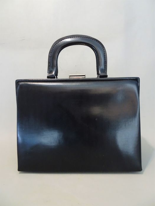 Onbekende ontwerper - Black Leather Beauty Case Bag - 1950s - Vintage