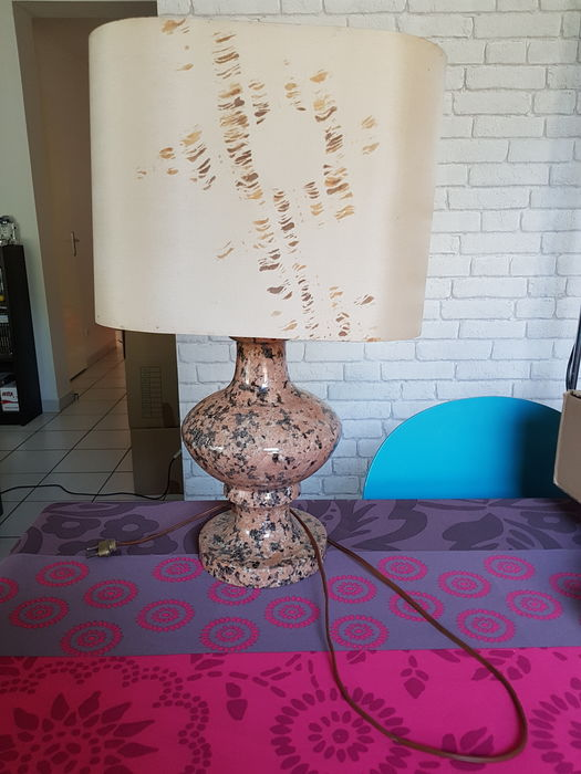 Lamp in pink granite made in France 1970s