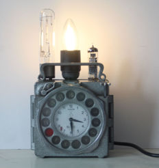 Unique industrial steampunk lamp made from a Junior pigeon clock