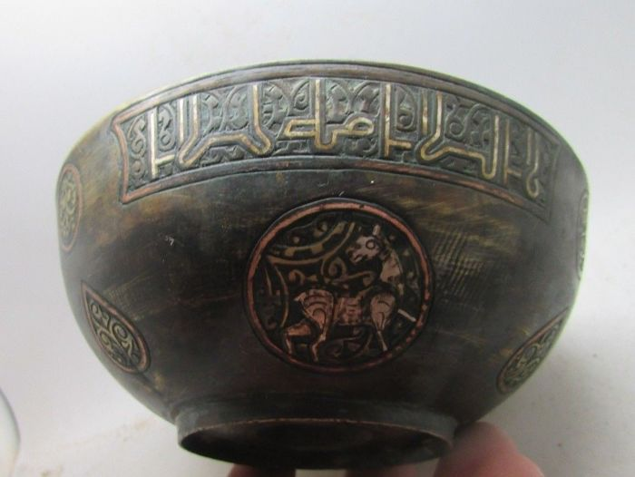 Islamic Bronze bowl with silver inlay - 5.6CM X 12.4 CM