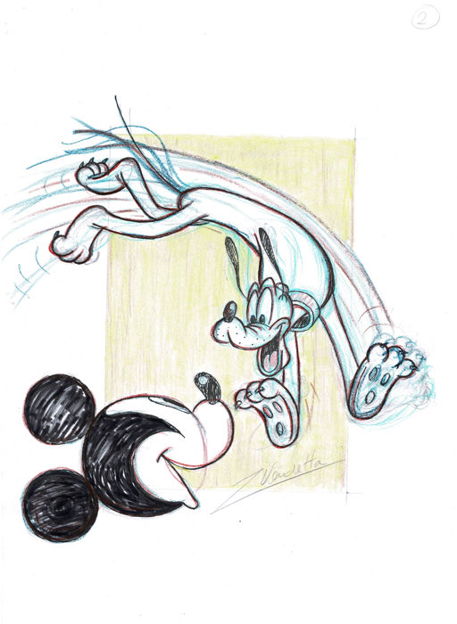 Pluto & Mickey Mouse - Z. Vendetta - Original Sketch - First Edition