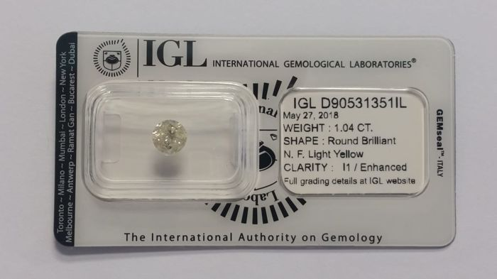 "1.04 ct  Diamonds Round  N.F.L Yellow  I1/Enhanced  IGL Lab (""IDEAL CUT"") - NO RESERVE"