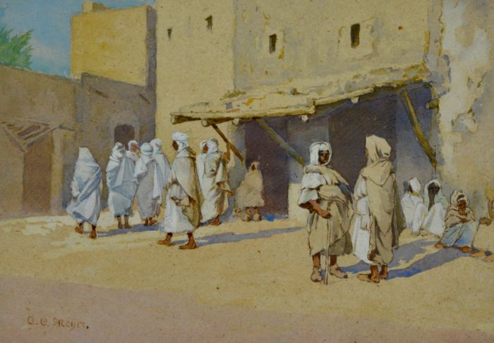A E Meyer (20th century) - Arab figures in a desert town