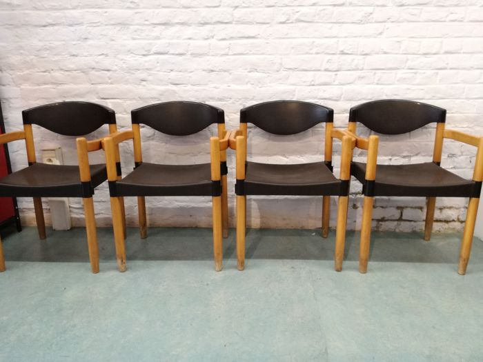 Harmut Lohmeyer for Casala - set of 4 STRAX' stacking chairs