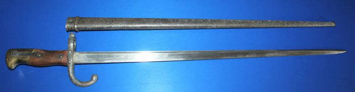Bayonet M 1874 for the 11 mm Gras rifle,  numbered France, in fair to good condition, length approx 65 com, dated 1878