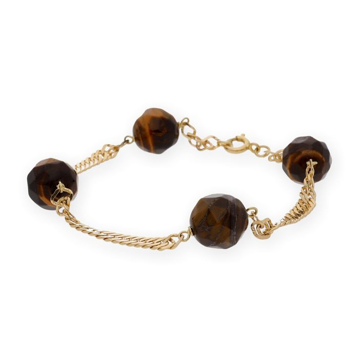 18 kt yellow gold - bracelet - faceted tiger's eye measuring 10.00 mm - bracelet length 18 cm