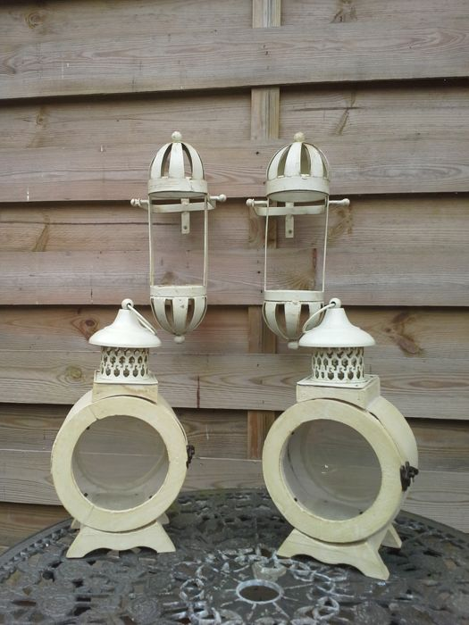 Two wooden wind lanterns and two metal pivoting candleholders, second half of the 20th century, Belgium