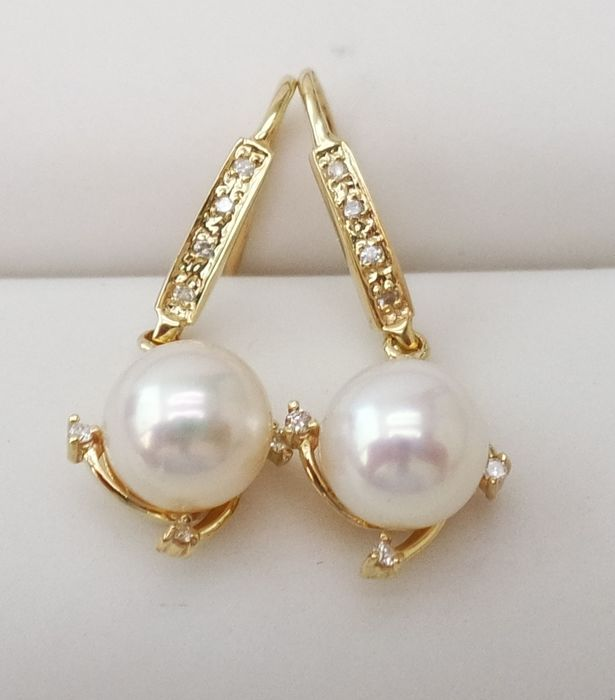 14KT Yellow Gold Earrings with 8 mm Saltwater Cultured Japanese Akoya Pearls & 0.112 cts Diamond , Elegant , Gorgeous Earrings