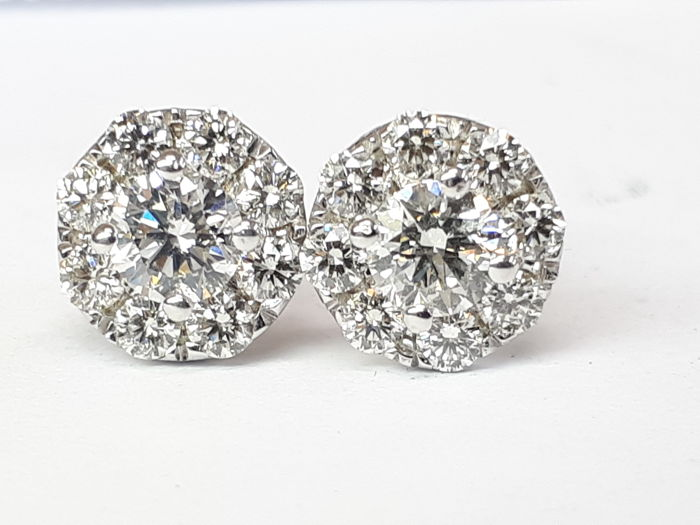 14KT gold stud earrings  with 1,32ct diamonds - IGL certified