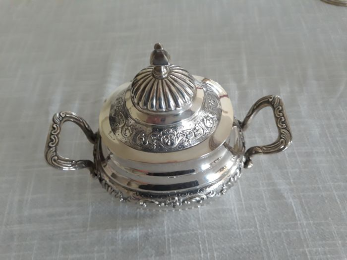 Portuguese silver sugar bowl with eagle mark, 1980