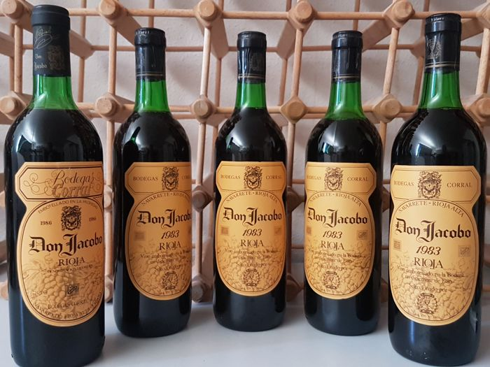 4 x 1983 & 1 x 1986 Don Jacobo, Bodegas Corral, Rioja - 5 bottles