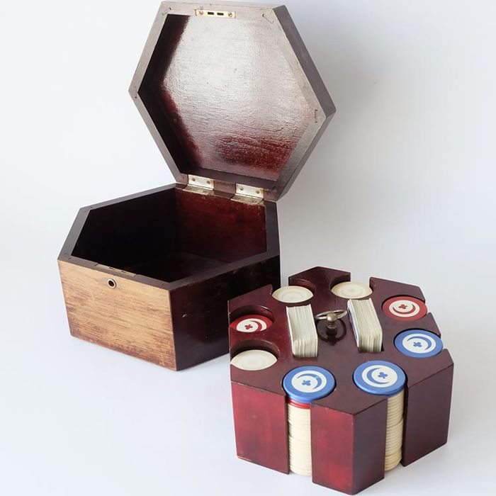 Poker Set from the mid-20th century in a wooden case with a caddy