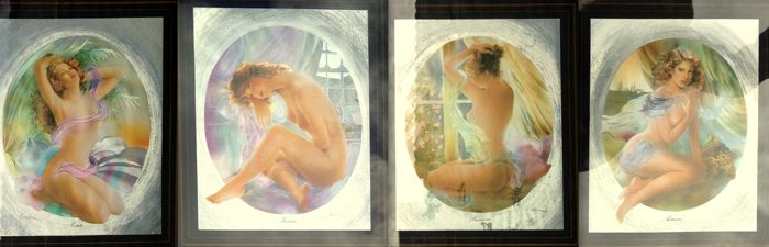Raffaella Blanc - The Four Seasons: Lot of Four Framed Reflective Prints with a contrastive black passepartout - 1970s ( collection of Female Nudes )
