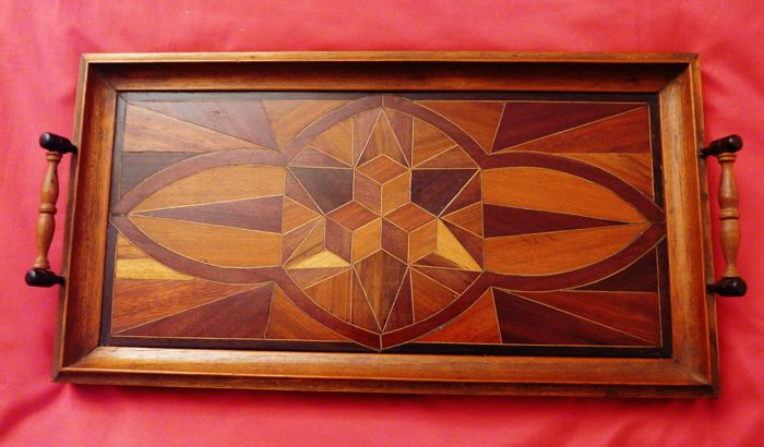 Art Deco Wooden Serving Tray with Inlay Work
