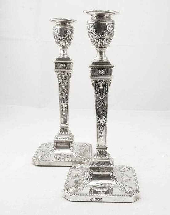 Antique English Silver Candlesticks Neo Classical Adam Style Hallmarked Sheffield 1900