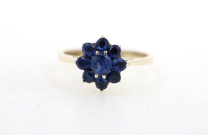 14 kt yellow gold women's ring with 1.50 ct sapphires - ring size 54 EU - free resizing