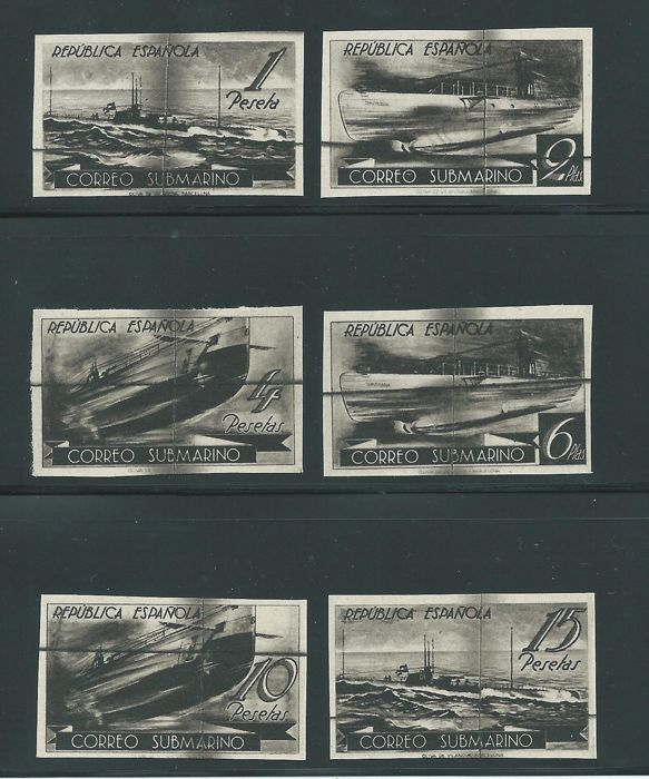 Spain 1938 - Submarine .Limated plates - Edifil 775/80 PI