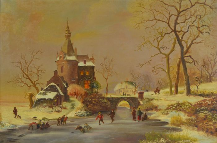 A Jackson. (20th century) - A Dutch winter landscape