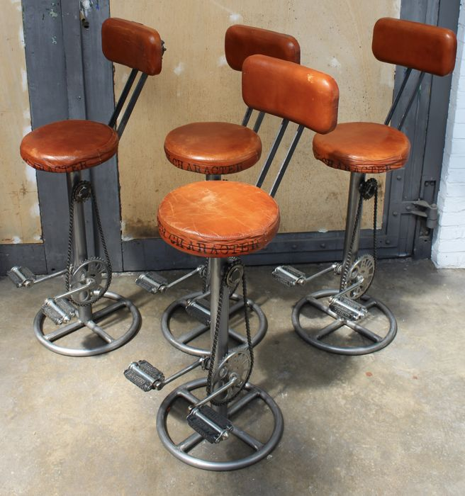 Awesome Unknown Designer Set Of 4 Handmade Bar Stools Catawiki Lamtechconsult Wood Chair Design Ideas Lamtechconsultcom