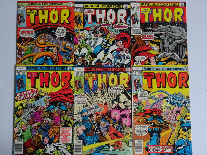 The Mighty Thor #256 #257 #258 #259 #260 #261 - Prima Edizione - (1977)