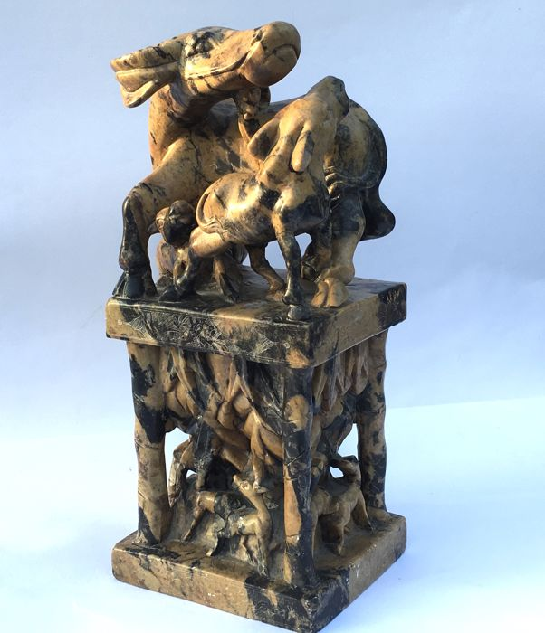 A Colossal carved Soapstone Seal Stamp - China - mid 20th century