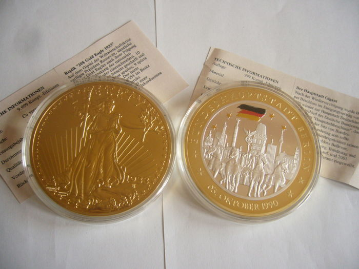 2 medals 110 grammes 70 MM DIAMETER gold plated USA and GERMANY