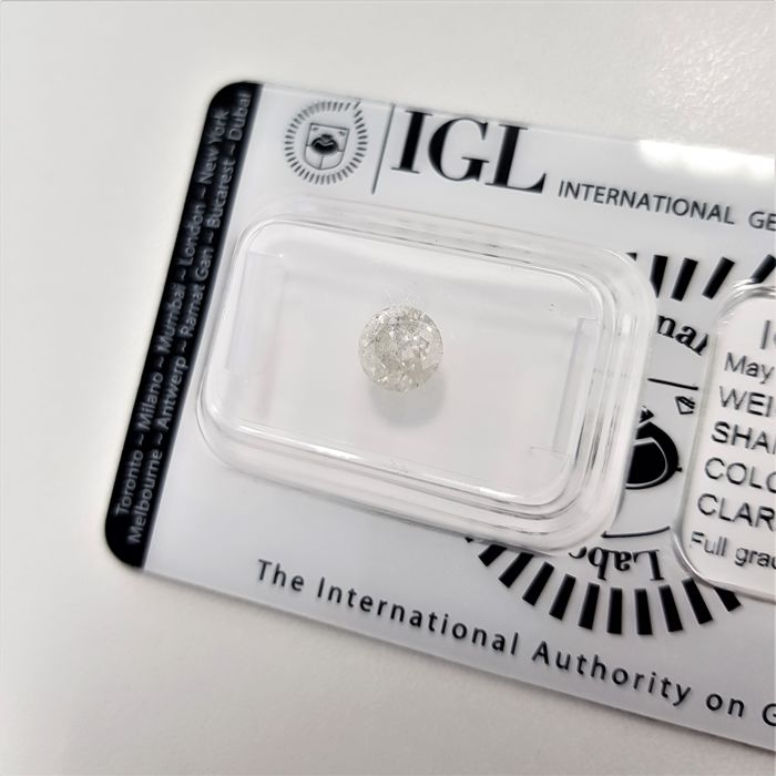 0.95 ct - Natural White Diamond - G Color - I2 - G/VG/VG - NO RESERVE!