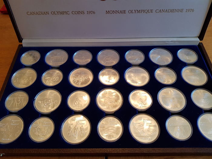 Canada - 5 and 10 Dollars 1973/1976 'Montreal Olympics 1976 (total 28 pieces) - silver